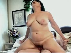 Chubby mom has oral n jumps on cock