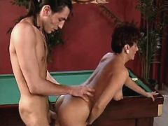 Hot mom fucks near billiard table