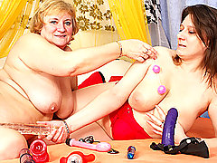 Naughty Beata Makes Granny Evita Cum Hard!