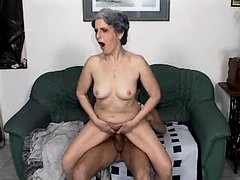 Granny does blowjob n jumps on cock