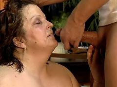Lusty mature BBW gets cum on face