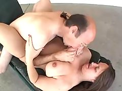 Chubby milf with giant tits sucks hard cock of man