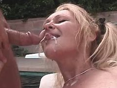 Mature gets cum after fuck outdoor