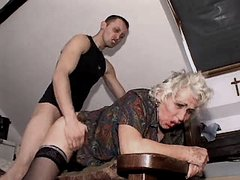 Granny fucks from behind and sucks