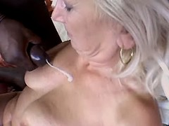 Granny fucks w blacky and gets cum