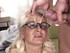 Granny gets facials after gangbang