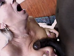 Granny blows black cock n has fuck