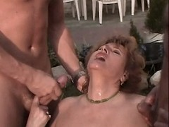 Chubby mom fucks in orgy n gets cum