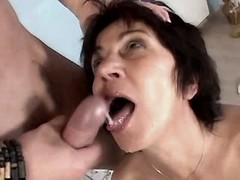 Mature jumps on cock n gets facial