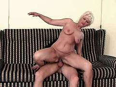 Aged mature sucks and jumps on cock