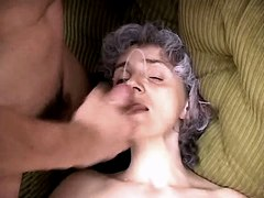 Mom gets facial n creampie in orgy