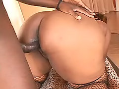 Sensual chubby ebony fucks with guy