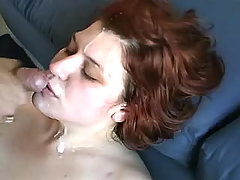 Chubby vixen slurps cum after fucks