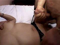 Chubby mature gets cumshot in orgy