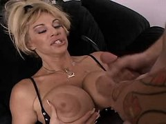 Mature fucks n gets cumshot on tits