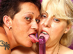 Lesbian Grannies Love Their Dildo Mania!