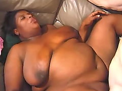 Paunchy busty ebony screwed by dude