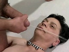 Mature gets strong facial after sex