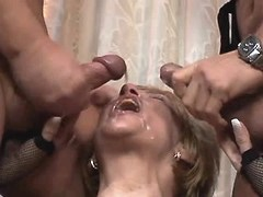Lewd granny gets facials after orgy