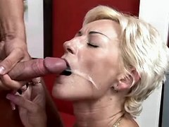 Blond mature has fuck n gets facial