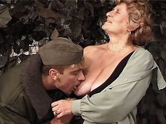 Granny sucks and has fuck w soldier