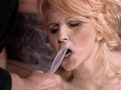 Mature gets facial after anal fuck